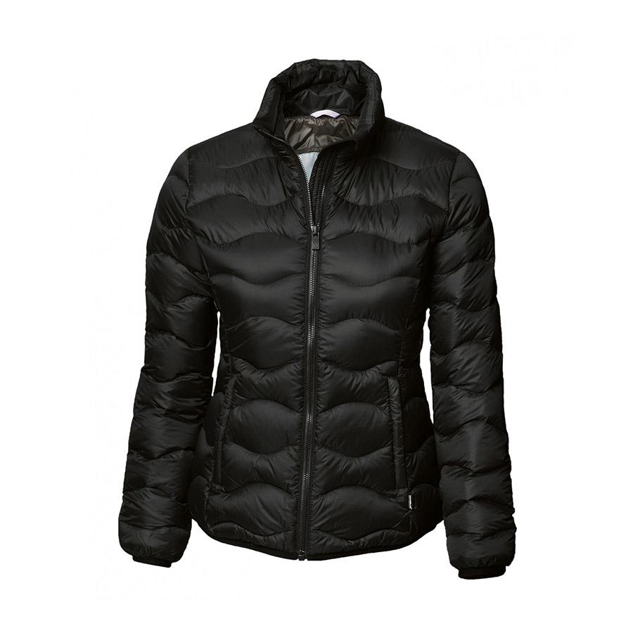 Jakke, sort, til damer, kanaldunjakke med de nyeste teknikker, feminin jakke