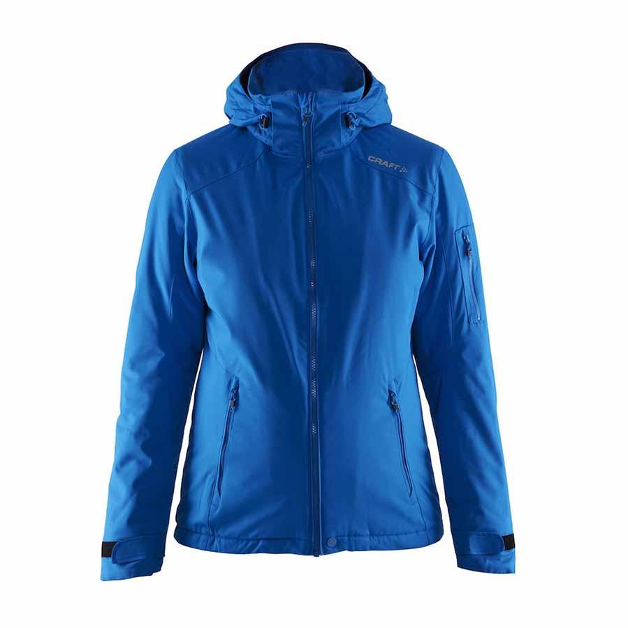 Jakke,blå, til damer, vind- og vandafvisende, med aftagelig hætte, lomme på ærme, to lommer med lynlås, justerbar ærmer, hætte og forneden