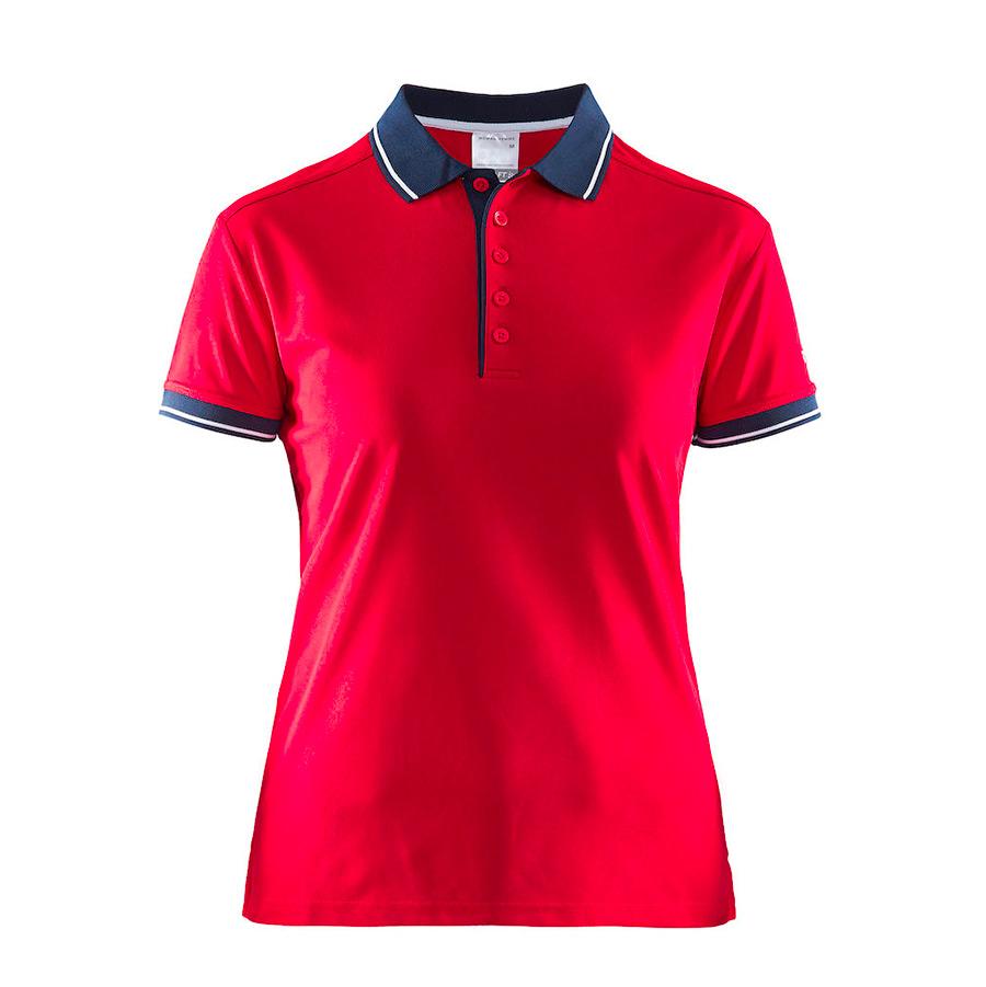 Rød, poloshirt, til damer, med blå og hvide striber på krave, pique og ærmelukning,5 knapper og korte ærker
