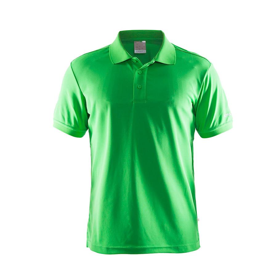 Grøn,poloshirt,fra Craft,til mænd,3 knapper,i polyester og med korte ærmer