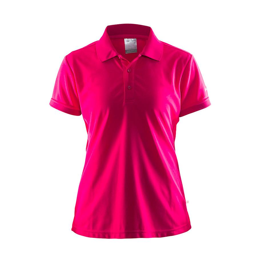 Pink,poloshirt,til damer, fra Craft, 3 knapper, i polyester og med korte ærmer