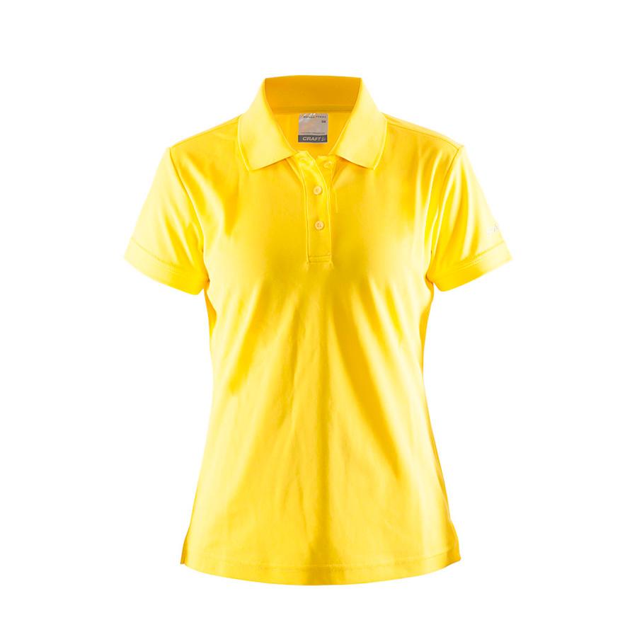 Gul, poloshirt, til damer, fra Craft, 3 knapper, i polyester og med korte ærmer
