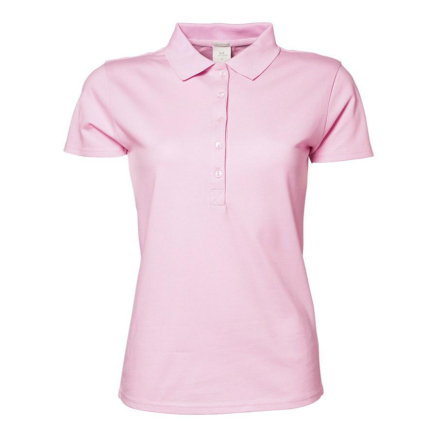 Lyserød,poloshirt, til damer, 5 knapper, bomuld og elastan, korte ærmer