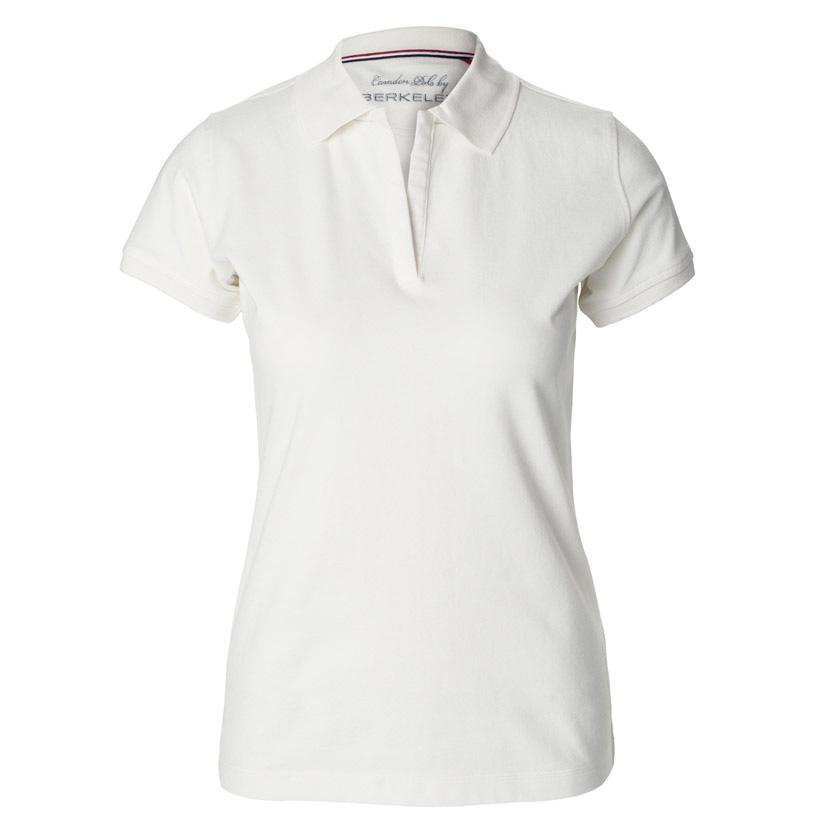 Hvid,poloshirt,til damer, uden knapper,i bomuld og elastan, med sideslids