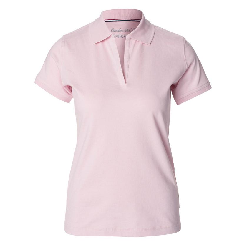 Lyserød,poloshirt,til damer,uden knapper, i bomuld og elastan, med sideslids