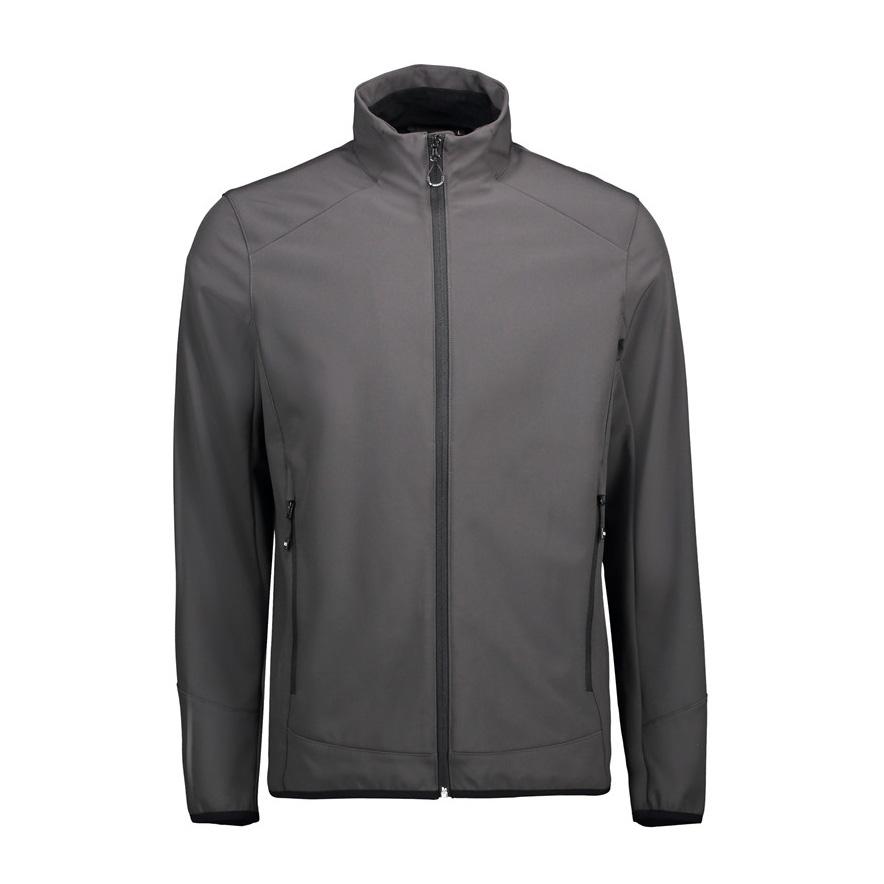 Grå, jakke,til mænd, soft shll, 3 lags ID tech. Mesh inderside. 2 sidelommer, høj hals,