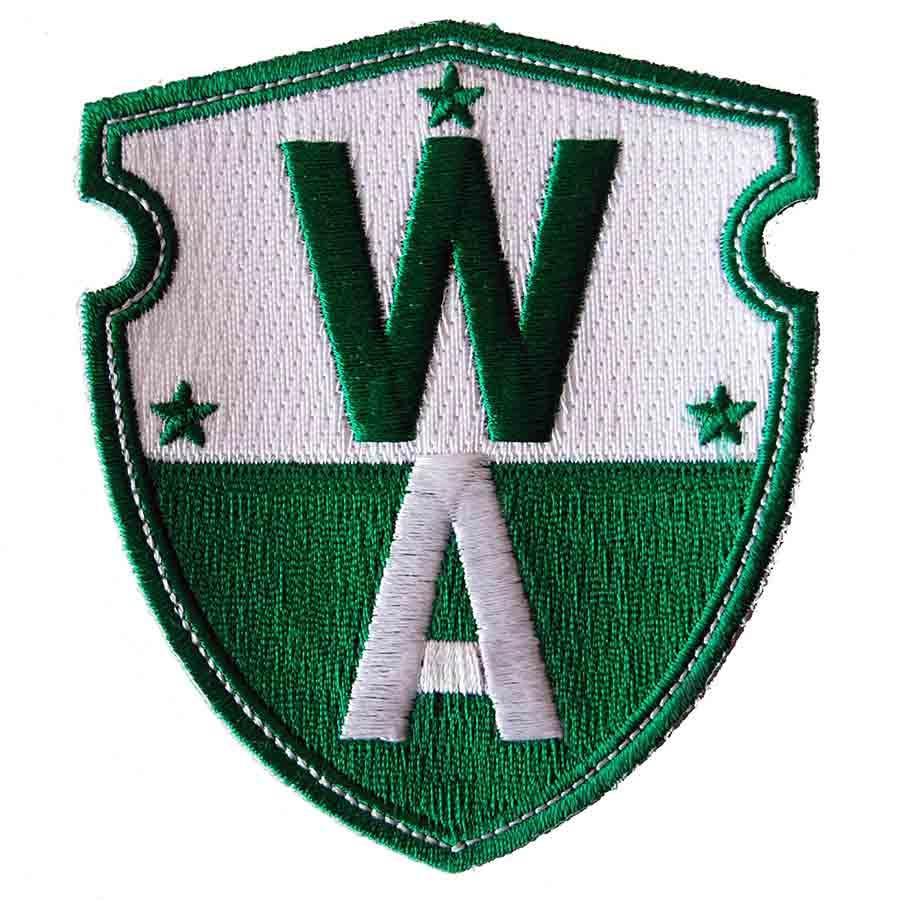 Broderet badge med logo