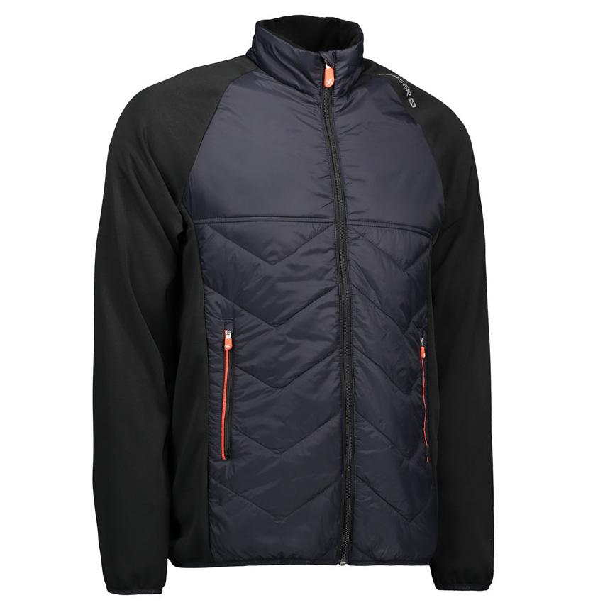 Jakke, sort, til mænd, letforet jakke i behagelig nylonkvalitet med kontrast i elastisk og flexibel metervare.