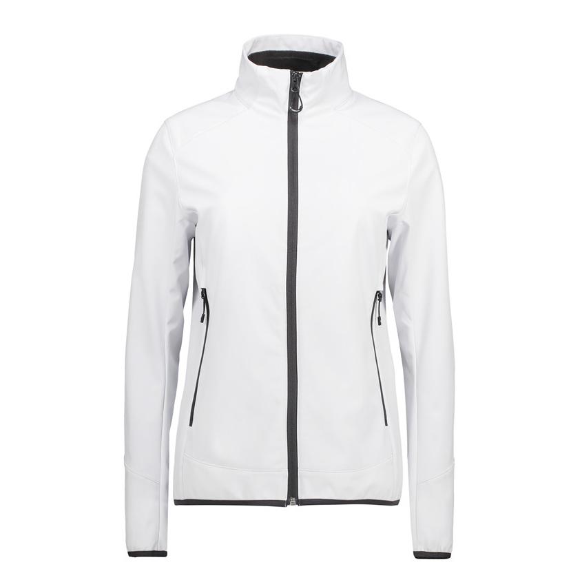 Hvid, jakke,til damer, softshell i 3 lags ID Tech-lag, mesh inderside, høj hals, 2 sidelommer, elastikbånd i bund og ærmer