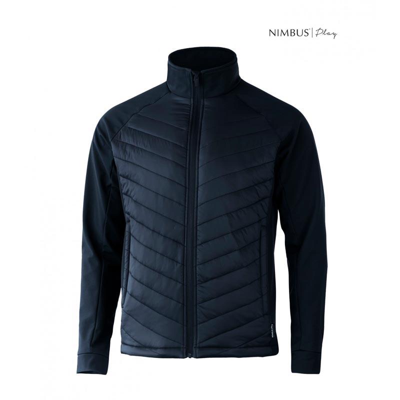 jakke,navy,til mænd, en kombination af softshell på ærmer og sidepaneler og front og ryg i vattering.