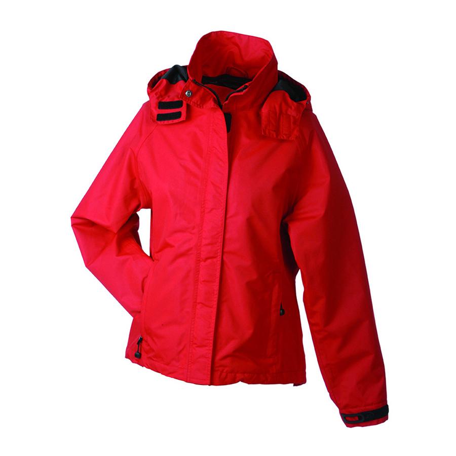 Jakke, rød, til damer, Funktionel jakke til alt slags vejr. Vind- og vandtæt, åndbar. Hætte i kraven.