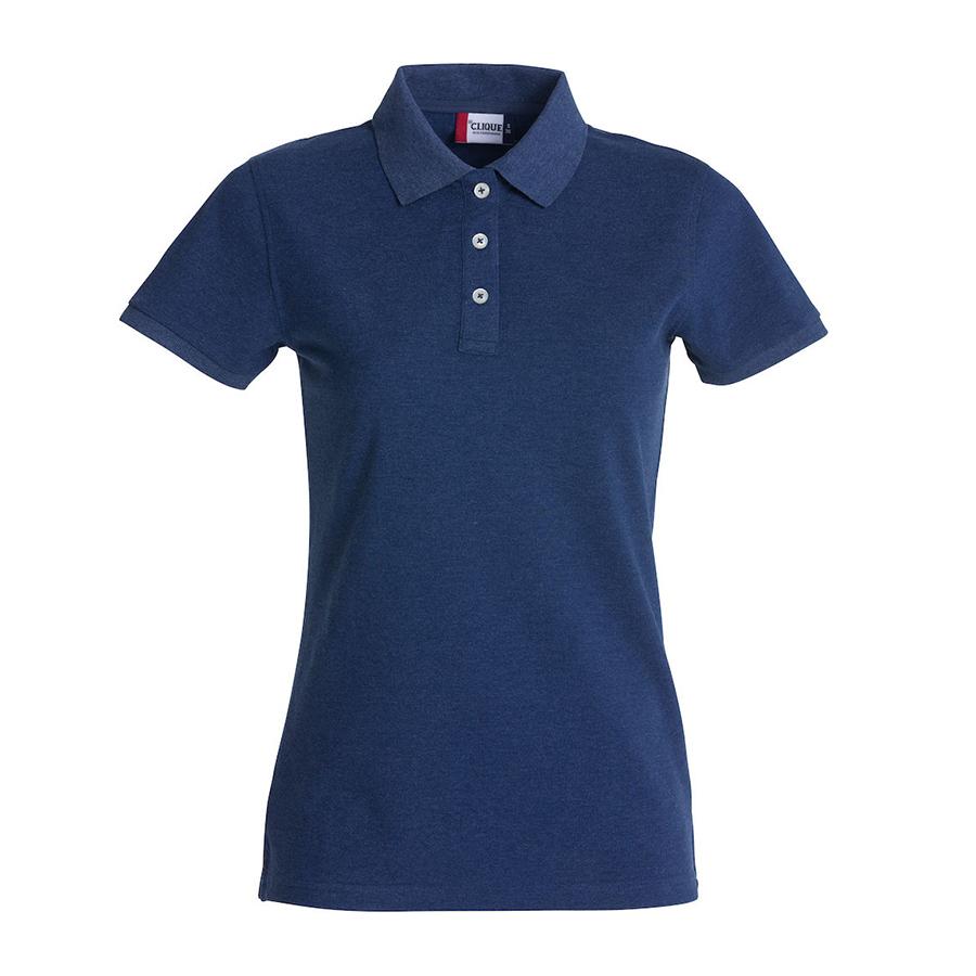 Blå, poloshirt,til damer, 3 knapper, korte ærmer, Polo i god stretch kvalitet, i bomuld og 5% elastan, 2 knapper med perlelook.