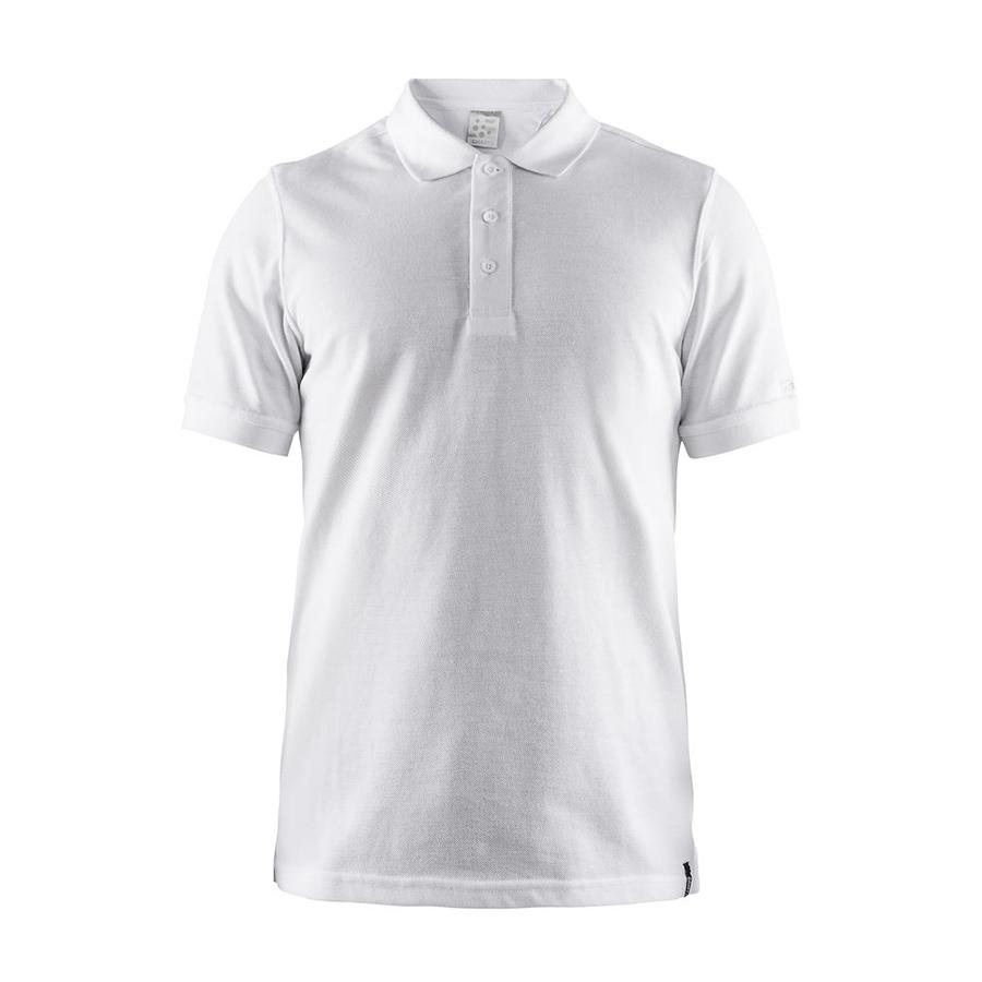 Hvid, poloshirt,til mænd,3 knapper, korte ærmer, afslappet design i et mixaf bomuld og polyester
