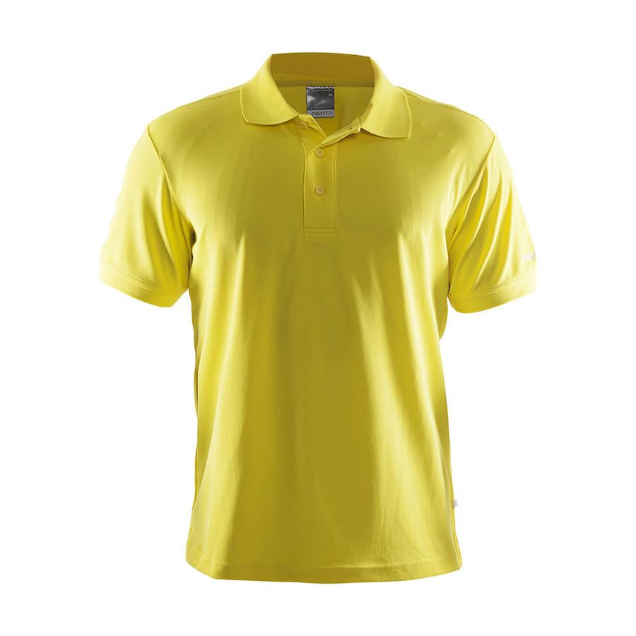 Gul,poloshirt, til mænd, korte ærmer, 3 knapper, i polyester