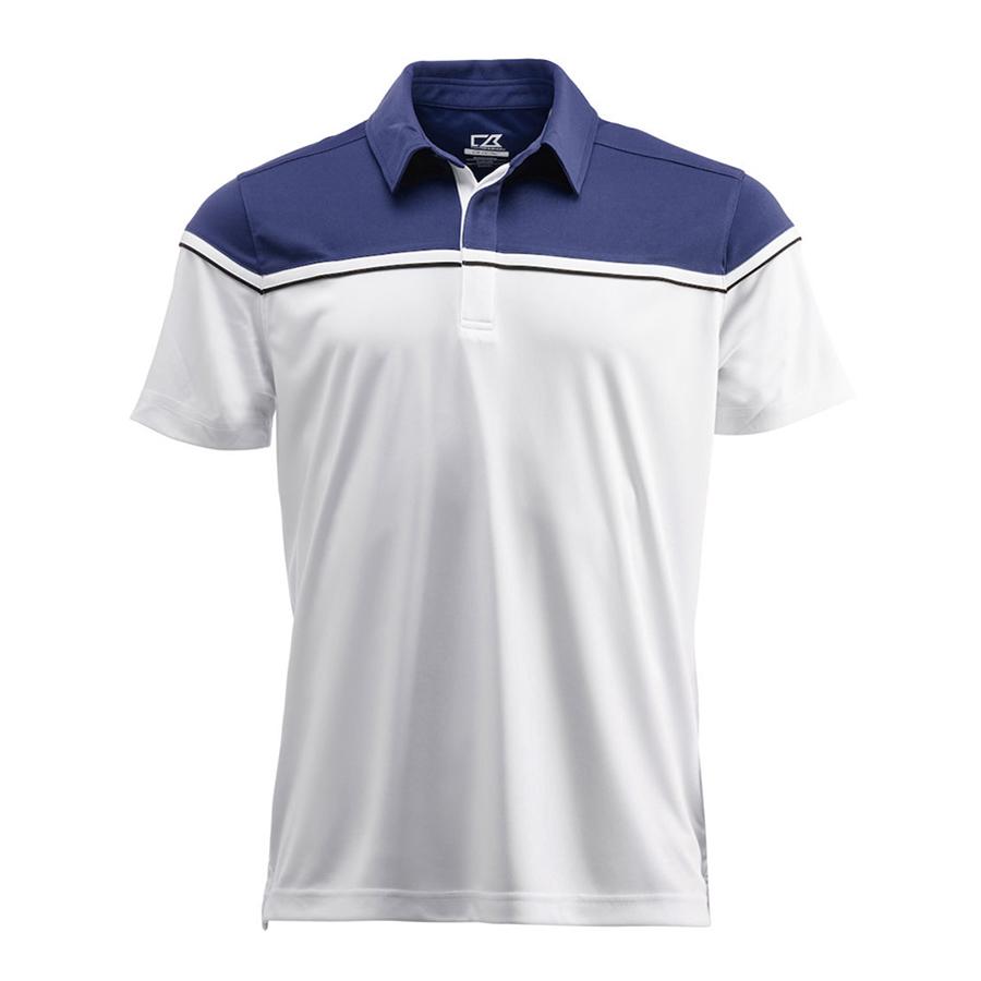 Hvid og blå, poloshirt, til mænd, Sporty designe, med kontrast farve, dekorativ piping og skjult stolpelukning.