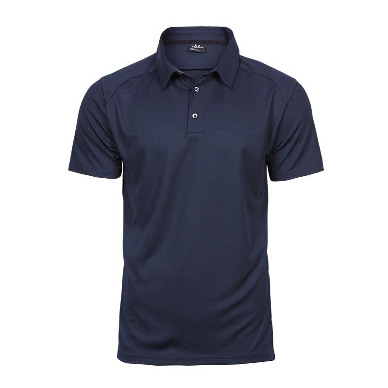 Navy,poloshirt, til mænd, funktionel sporty poloshirt, 3 knapper, korte ærmer