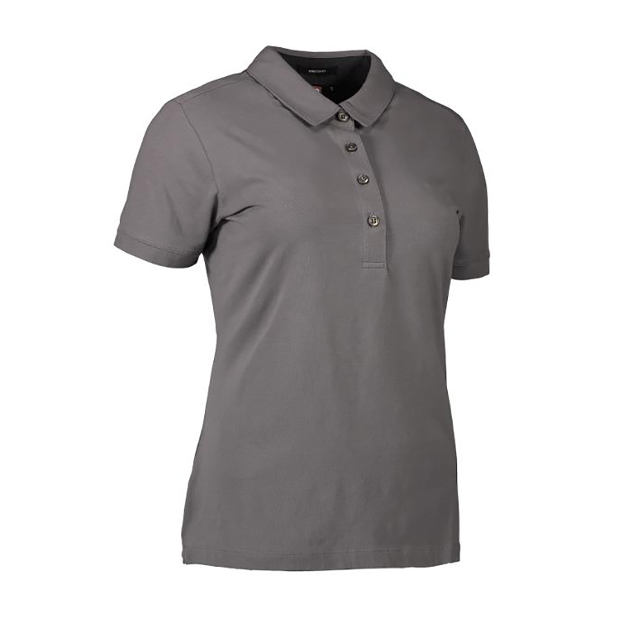 Sølvgrå,poloshirt,til damer,korte ærmer,4 knapper, Business, single jersey stretch polo med flot krave og stand.